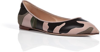Valentino Leather/Cotton Patchwork Camouflage Flats