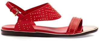 Nicholas Kirkwood Preorder Studded Red Calf Flat Sandal