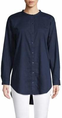 Eileen Fisher Mandarin Collar Button-Down Shirt