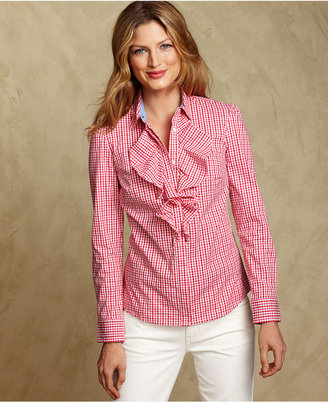 Tommy Hilfiger Shirt, Long-Sleeve Plaid Ruffle