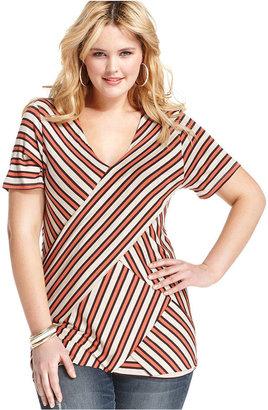 Cha Cha Vente Plus Size Top, Short-Sleeve Striped Bandage