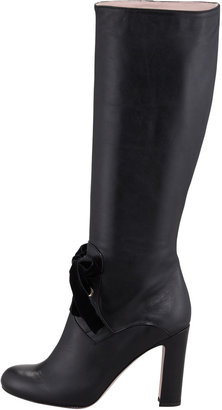 RED Valentino Leather Tie-Front Boot