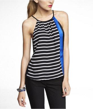 Express Stripe And Color Block High Neck Blouson Cami