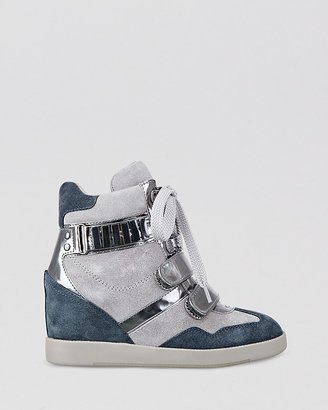 GUESS Lace Up Wedge Sneakers - Trevian