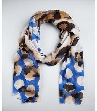MIR blue and tan leopard print cashmere blend scarf