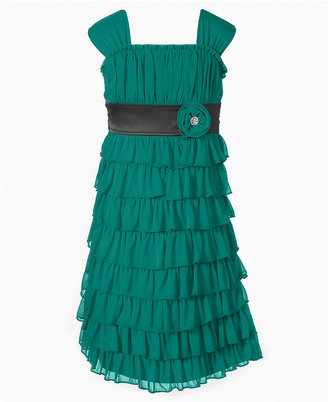 Sequin Hearts Girls Dress, Girls Tiered Dress