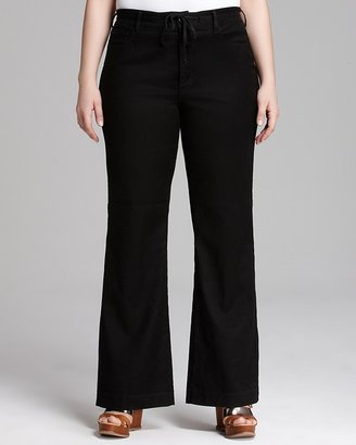 NYDJ Plus Lindsey Wide Leg Jeans in Black