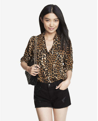 Express original fit leopard print portofino shirt $59.90 thestylecure.com