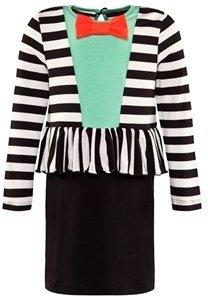 Bang Bang Copenhagen Black And White Stripe Bowtie Peplem Dress