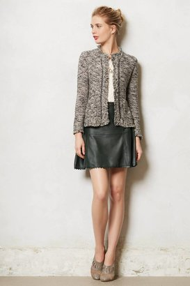 Anthropologie Scalloped Leather Skater Skirt