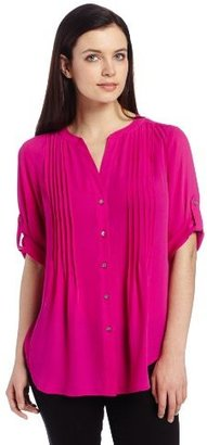 Chaus Women's Pintuck Roll Tab Blouse