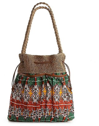Poppie Jones Tribal Drawstring Bucket Shoulder Bag