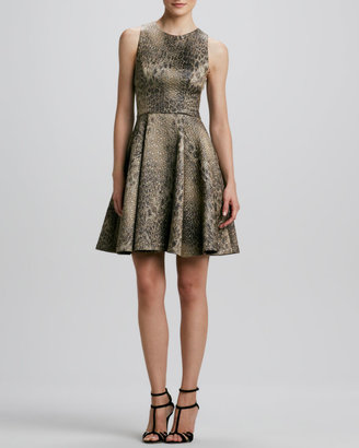 Monique Lhuillier Animal-Print Fit-and-Flare Dress