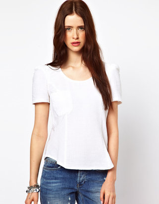 By Zoé Textured Peplum Blouse with Pocket