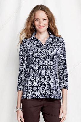 Lands' End Women's Regular 3/4-sleeve Print Cotton Polo