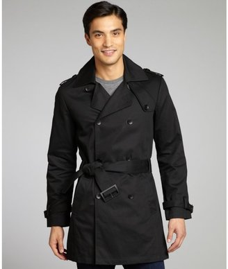 Kenneth Cole New York black cotton double breasted belted trench