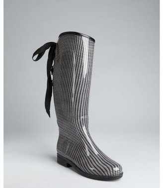 dav black and white houndstooth rubber 'Victoria' rain boots