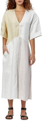 Equipment Josee Colorblock Linen Midi Dress