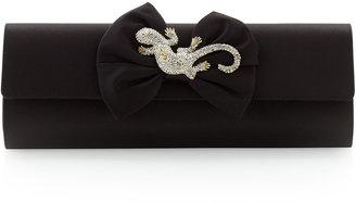 Moschino Rhinestone-Jewel Satin Clutch Bag, Black