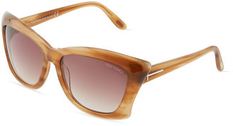 Tom Ford Lana Stripped-Acetate Butterfly Sunglasses, Honey