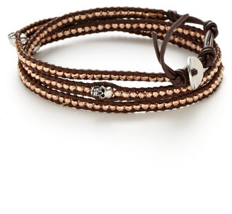 Chan Luu Silver Skull & Rose Gold Multi-Wrap Bracelet