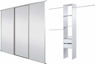 Spacepro Sliding Wardrobe Door Kit W2235mm White Frame Mirror+Storage