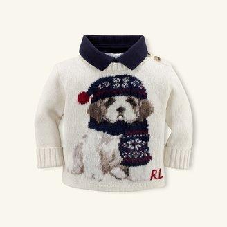 Dog Intarsia Cotton Sweater