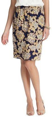 LOFT Tall Lush Floral Print Elastic Waist Pencil Skirt