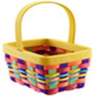 Container Store Madras Woven Handled Basket Yellow Multi