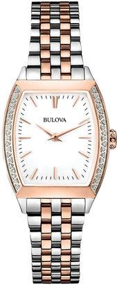 Bulova Women's Diamond Accent Two-Tone Stainless Steel Bracelet Watch 26mm 98R200