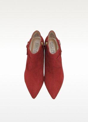 DKNY Red Suede Mid-Heel Bootie