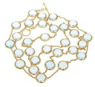 Other Designers Blue Topaz Necklace - 40'' - 22 Karat Yellow Gold