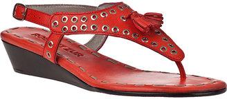 Robert Zur Eyelet Tassel Wedge Sandal Coral Leather
