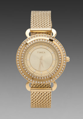 Timex Crystal's Round Watch in Goldtone/ Champagne
