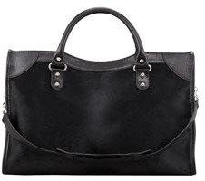 Balenciaga Classic Calf Hair City Bag, Black