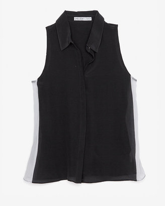 Chelsea Flower Exclusive Contrast Sheer Panel Sleeveless Blouse