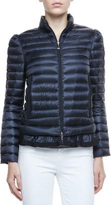 Moncler Peplum Puffer Jacket, Navy