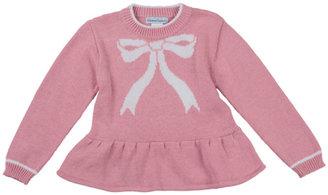 Florence Eiseman Bow-Intarsia Peplum Sweater, Pink, 12-24 Months