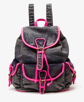 Forever 21 Neon Trim Denim Backpack
