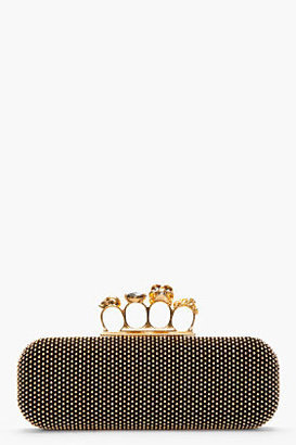 Alexander McQueen Long Black Studded Suede Skull Knuckleduster Box Clutch