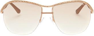 Jimmy Choo Jess Leather-Trim Sunglasses, Gold/Copper