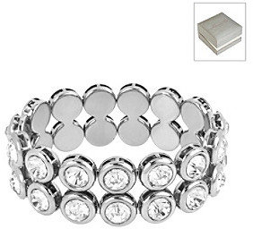 Kenneth Cole Crystal Round Bead Two Row Stretch Bracelet in a Gift Box