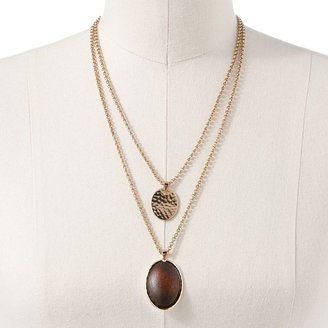 Dana Buchman gold tone wooden cabochon & hammered double oval pendant
