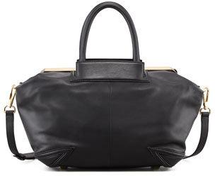 Brian Atwood Sophia Leather Satchel Bag, Black