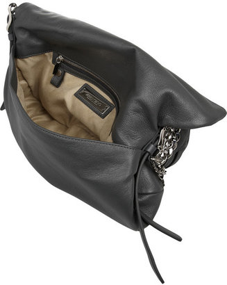 Jimmy Choo Biker chain-trimmed textured-leather shoulder bag