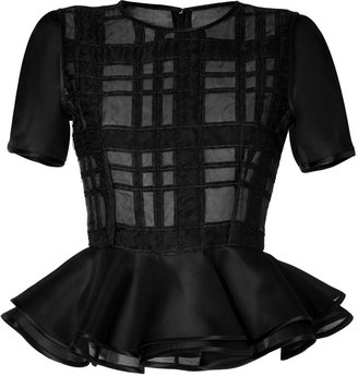 Prabal Gurung Plaid Peplum Top in Black