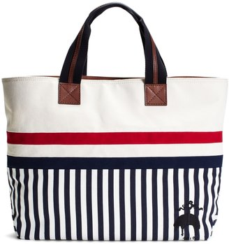 Brooks Brothers East-West Tote With Striped Bottom