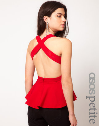 Asos Top With Peplum And Cross Back