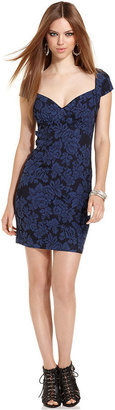 GUESS Dress, Camille Short-Sleeve Sweetheart Floral-Print Mini