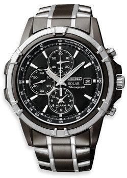 Seiko Men's Solar Black Dial Two-Tone Dress Sport Stainless Steel Watch